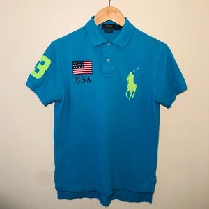 Polo Ralph Lauren Men's (S) USA Retro Blue Polo